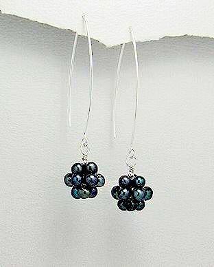 Sterling Silver Tahitian Pearl Cluster Dangle Earrings