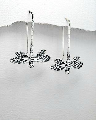 Art Deco Sterling Dragonfly Earrings