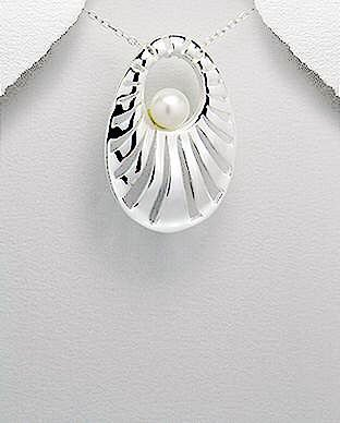 Contemporary Oval Sterling Silver and Pearl Pendant