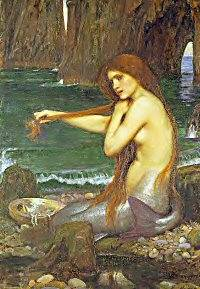 A mermaid combs her hair in a painting by Waterhouse