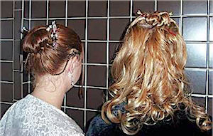 Andi Apple Johnson shows off her custom Anam Cara Bridal GeishaStix hair pin and her Cariad custom LongLocks BridalStix, while her sister shows off her Torrid LongLocks GlitterStix Hair Sticks