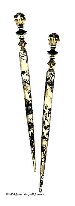 Antique Toile LongLocks DecoStix Hair Sticks
