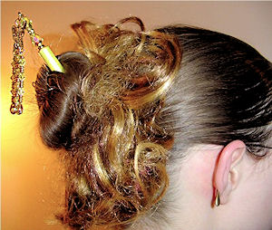 Larissa shows off her Golden Butterfly LongLocks GeishaStix Hair Pin
