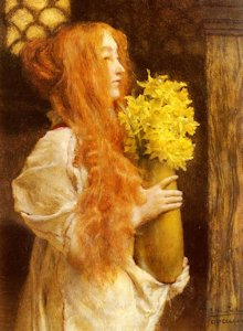 A Lovely Redhead is depicted in Spring Flowers by Sir Laurence Alma-Tadema