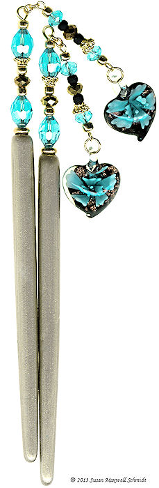 Blissful Blue Special Edition LongLocks SwingStix Hair Pins With Dangles