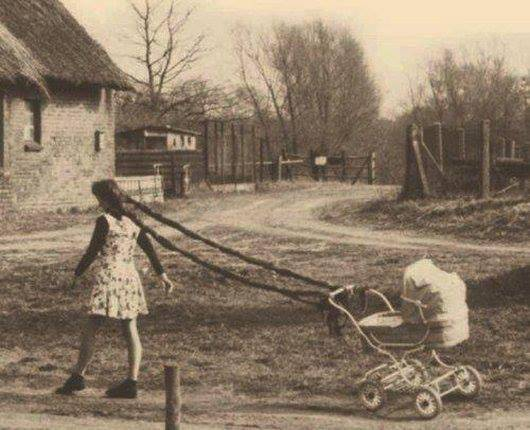 A woman pulls a baby carriage with her braids in this wacky vintage photograph