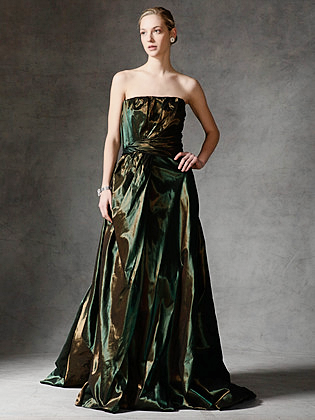 Reem Acra Emerald and Bronze Gown