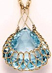 Blue Topaz and Crocheted Gold Pendant