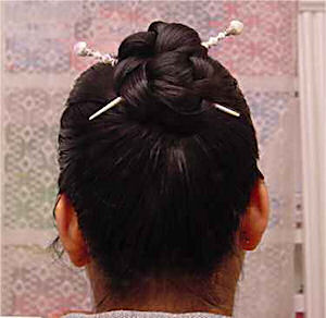 Cheryle Joy Corpus shows off her Snow Baby LongLocks ImpressioniStix Hair Sticks
