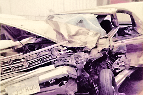 Front View of Dodge Colt After Head-On Collision