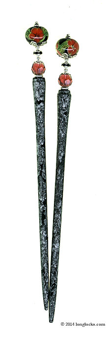 Coral Bloom Special Edition MajeStix LongLocks HairSticks - Click to see our full catalog!
