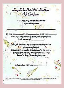 LongLocks Hair Sticks Boutique Gift Certificate