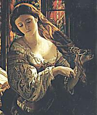 A woman wraps pearls in her hair in this 19th century portrait painted by Daniel Maclise