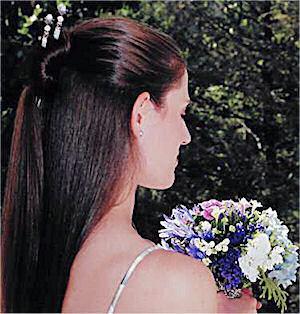 Holly Magill shows off her Moonlit Garden Custom LongLocks BridalStix Hair Sticks