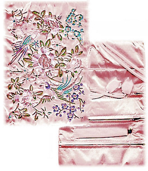 Chinese Silk Jewelry Roll Pouch