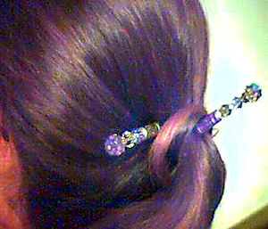 Larissa shows off her Purple Mist LongLocks DuetStix Hair Sticks