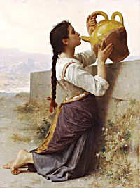 La Soif by William Bouguereau, depicting an English braid