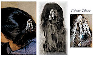 Laura shows off her Winter Snow LongLocks GeisahStix Asian Hair Pin