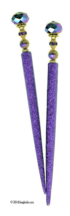 Lilac Electric LongLocks GlitterStix Hair Sticks