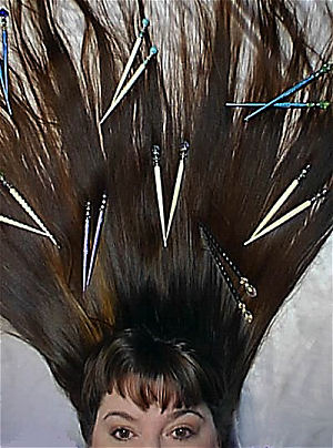 Susan Maxwell Schmidt with some of her own favorite hairsticks