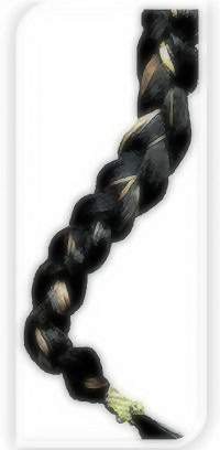 A 14-inch section of my multicolored braid
