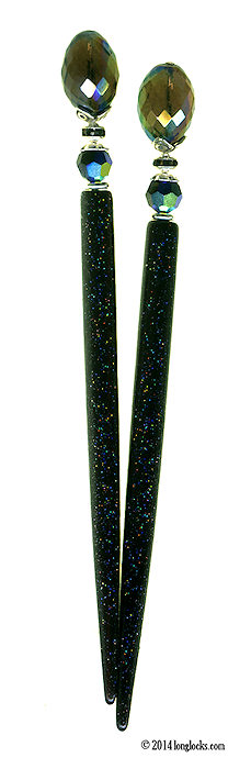 Noir Prism Special Edition HoloStix LongLocks HairSticks - Click to see our full catalog!