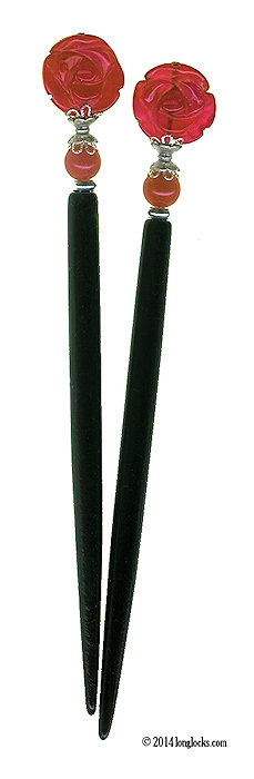 Radiant Rose Special Edition Original LongLocks HairSticks - Click to see our hair jewelry catalog!