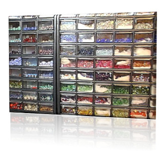 Drawers of beads line the walls of the LongLocks studio