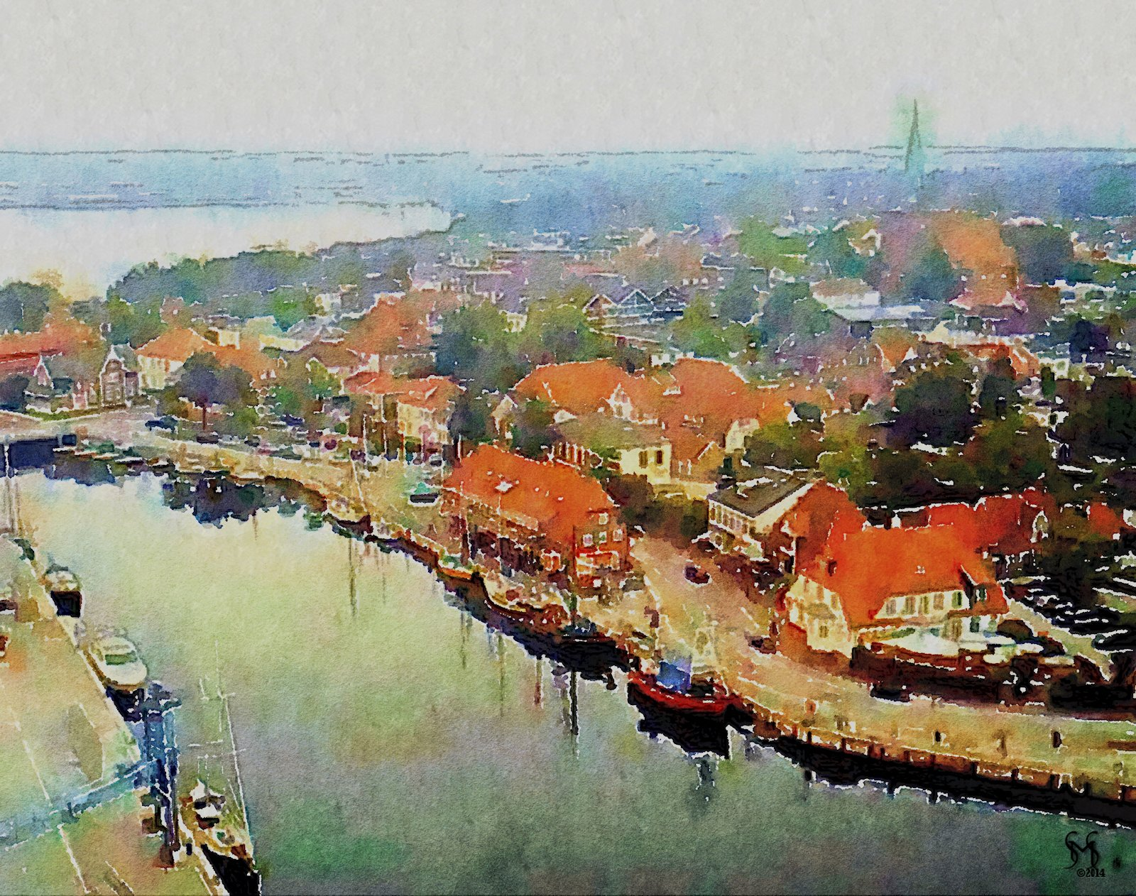 Neustadt on the Bay - Watercolor Photography by Susan Maxwell Schmidt