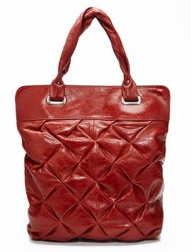 BCBG Crosshatch Tote in Burnt Red