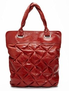 BCBG Crosshatch Tote Burnt Red