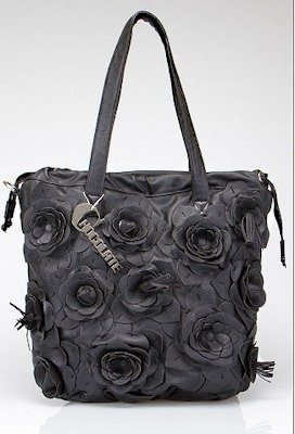 Chocolate Floral Bucket Bag in Black