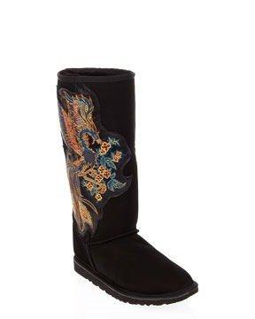 Koolaburra Suede Phoenix Boots in Black With Swarovski Crystal