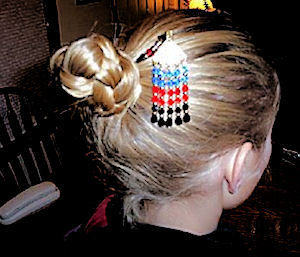Tierny shows off her mom's Songham Star Custom LongLocks GeishaStix Hair Pin