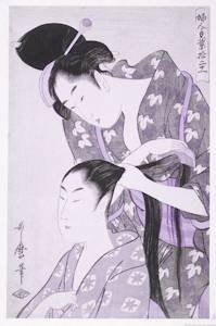A Japanese Woman Adorns Another's Hair With Hair Sticks in a Painting by Utamaro